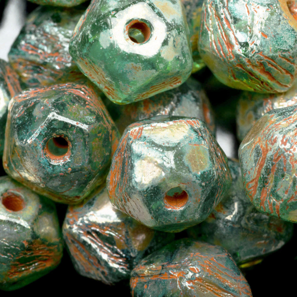 20 Green aqua luster with Picasso medium English cut Czech beads, 8mm