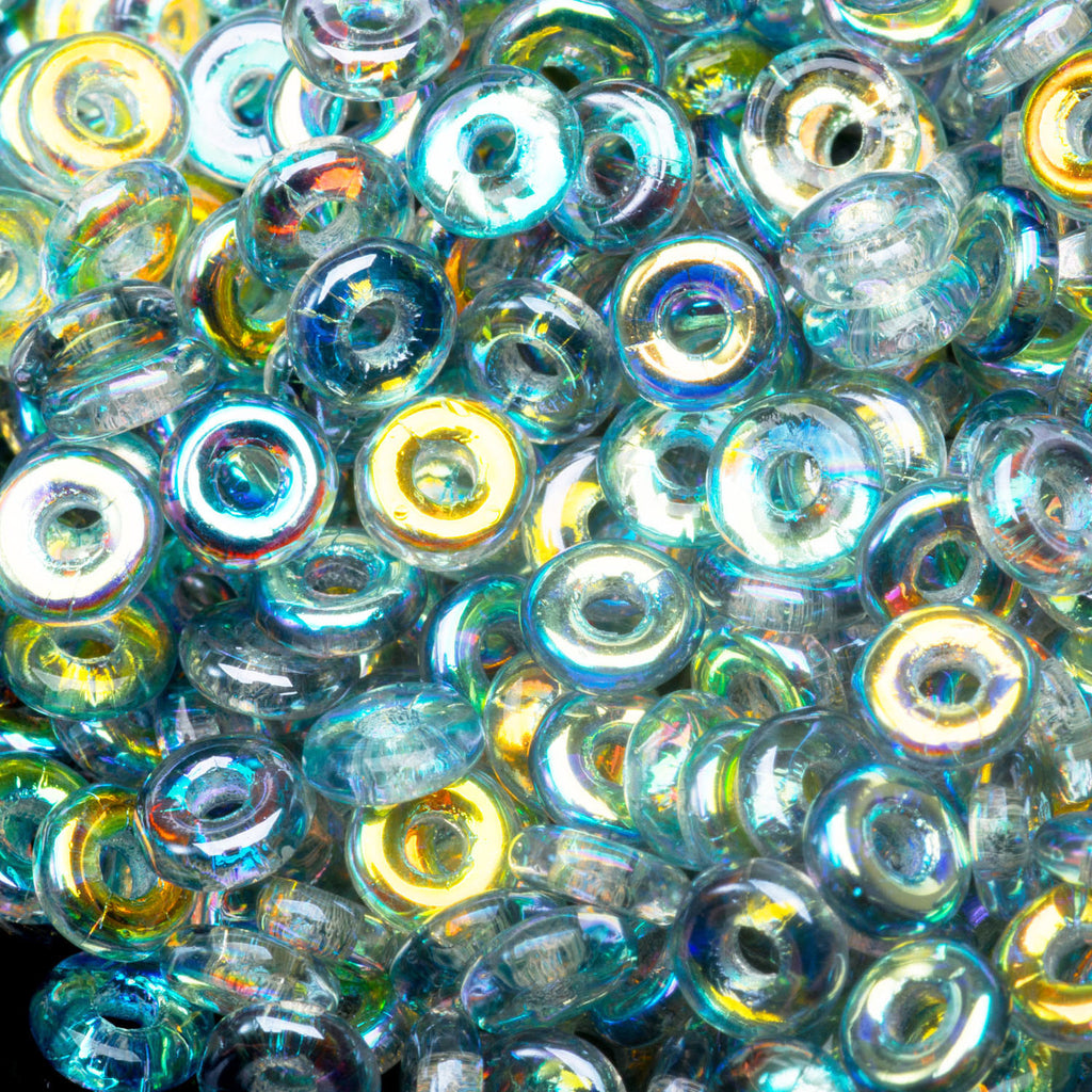 5 Grams Crystal Blue Rainbow O-Bead Czech seed beads, 1 x 4mm
