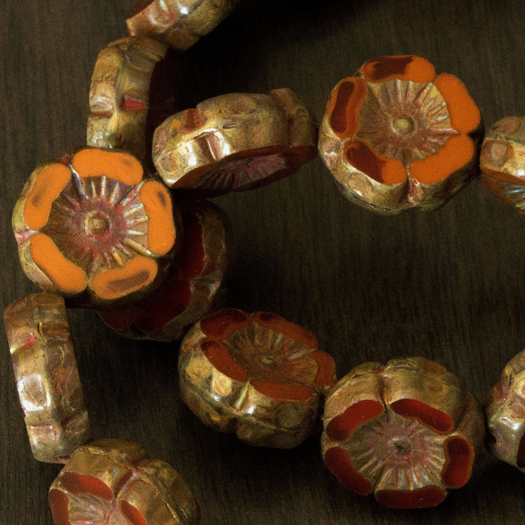 Czech - 6 Small Dark Apricot And Brick Picasso Hawaiian Flower Beads, 12mm