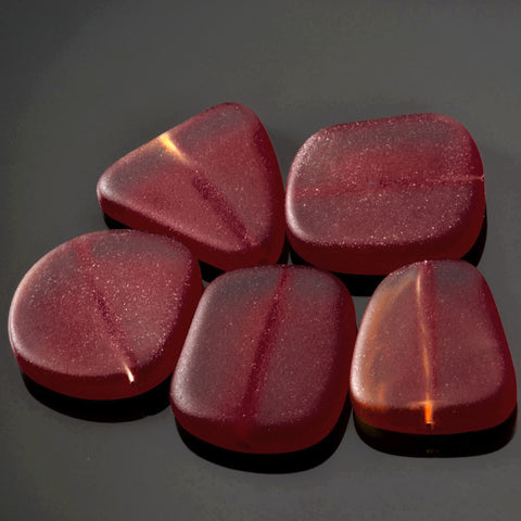 5 Cultured sea glass freeform beads, 23 x 20mm, Dark Cherry red