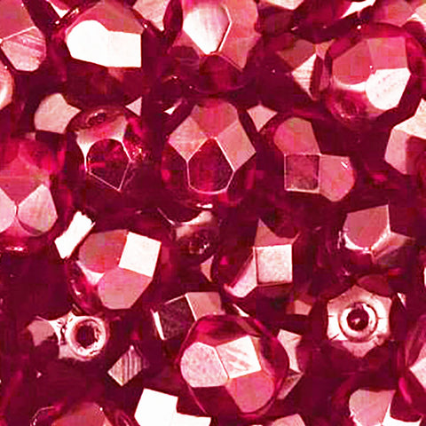 30 Transparent Ruby red Czech firepolished rounds, 6mm