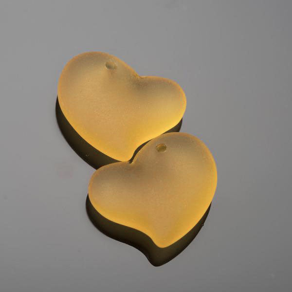 2 Cultured Faux Sea Glass Small Puffed Heart Pendants, Desert Gold, 18mm