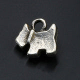 2 Lead-free antique silver metal alloy dog charms, 14 x 12mm