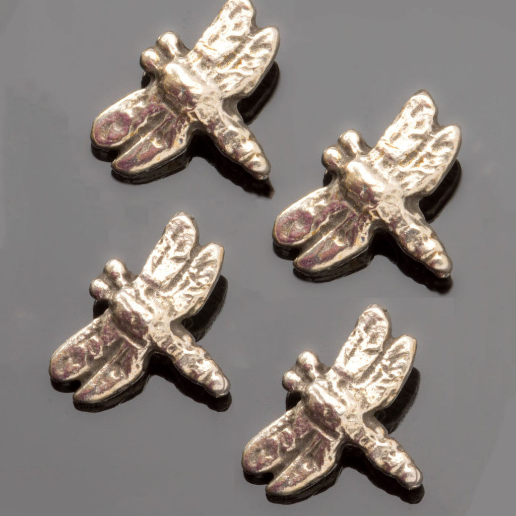 4 Cast antique silver dragonfly beads, diagonal 1.5mm hole, 13 x 11mm