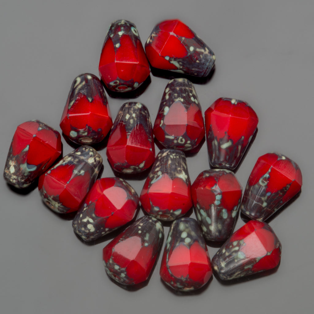 30 Red Picasso faceted drop bottom cut Czech glass beads, 8 x 6mm