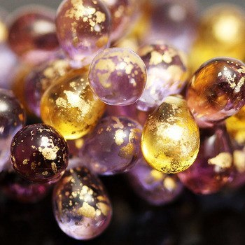 25 Venetian Plum purple and gold Czech glass teardrops, 6 x 9mm