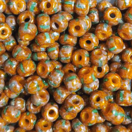 CLEARANCE 1/0 Loose Luster yellow and turquoise stripe Czech Picasso seed beads, 6 x 4mm, 15 grams