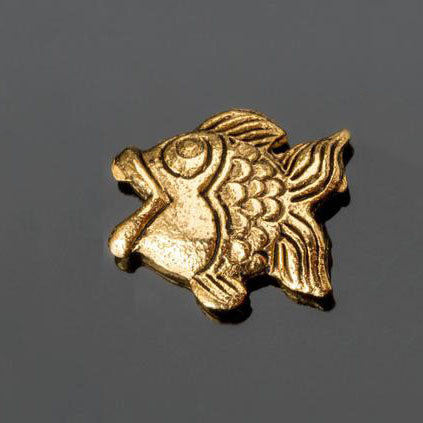 Tiny antique gold pewter fish bead, 10 x 9mm
