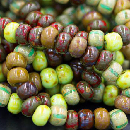 7 Inches or 48 Beads, 2/0 Aged Gaia Stripe Picasso Beads, 4 x 6mm, 2mm Hole
