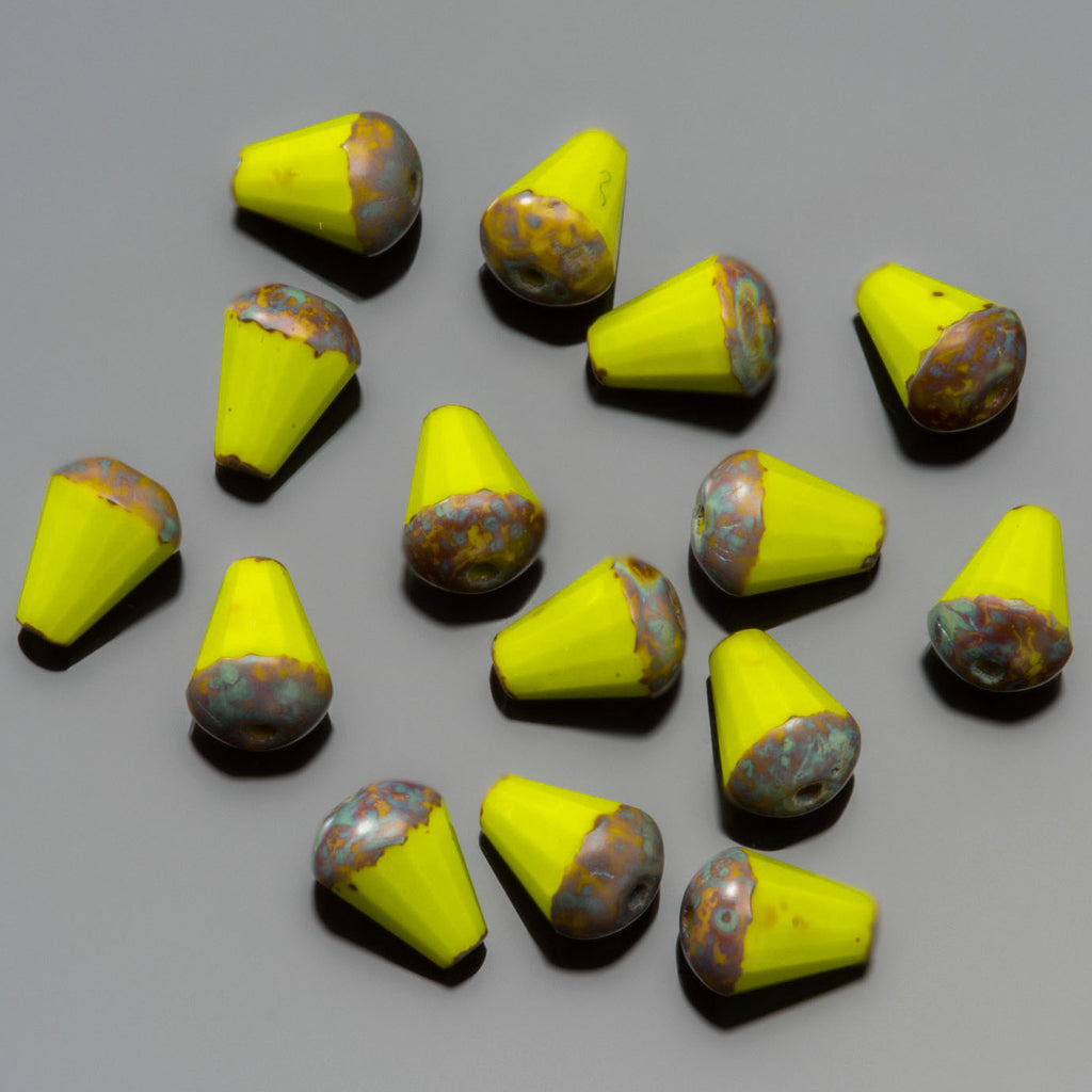 30 Yellow Picasso faceted drop top cut Czech glass beads, 8 x 6mm