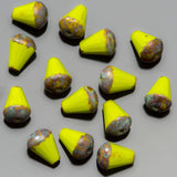 CLEARANCE 15 Yellow Picasso faceted drop top cut Czech glass beads, 8 x 6mm