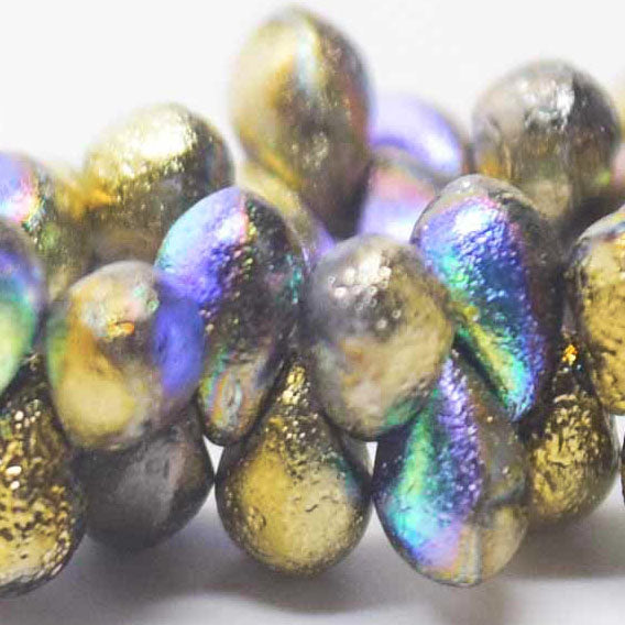 3 Strands of 50 Czech Glass Gold Ore AB Etched tear drops, 4 x 6mm