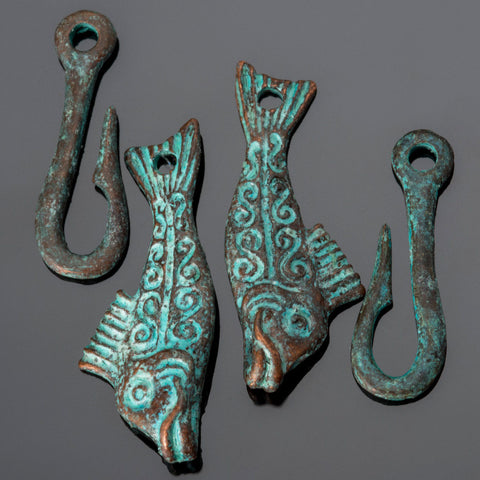 2 Cast green patina lead-free fish clasps, 50mm