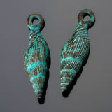 2 Green patina cast conical shell charms, 8 x 25mm