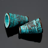 2 Cast Native style large cone end cap pair, green patina, 18 x 11mm