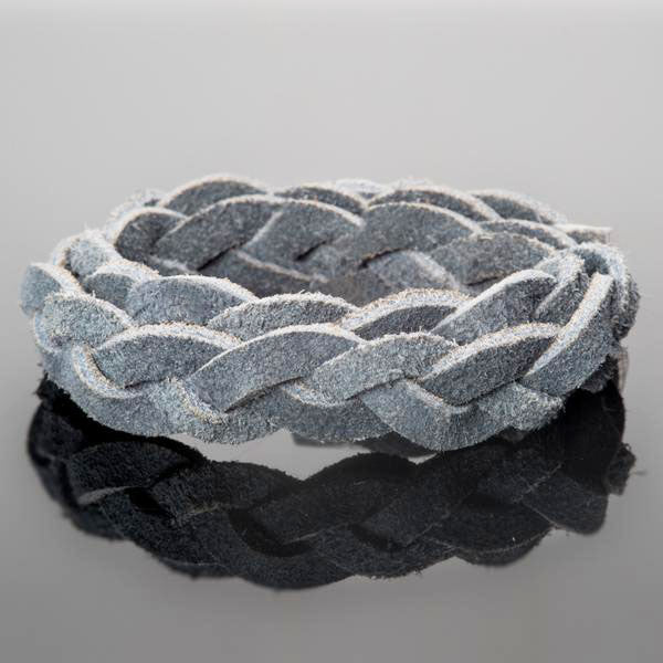 1 or 2 Feet, 12mm Flat Braided Split Suede, 3-Ply, Iceburg Grey