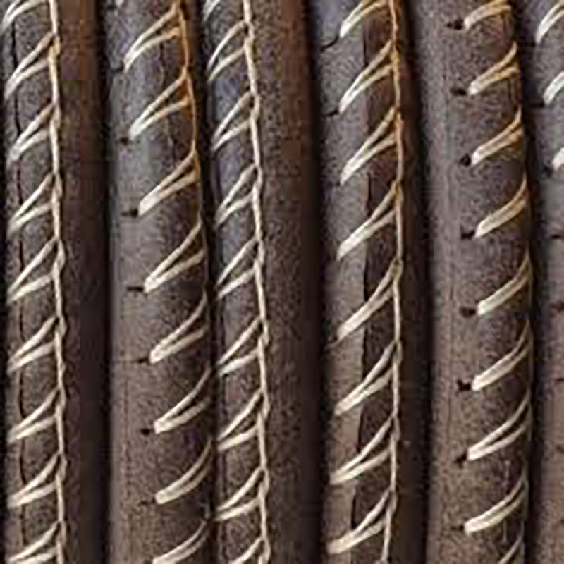 5mm Stitched round leather cord Dark Brown, 1 Foot