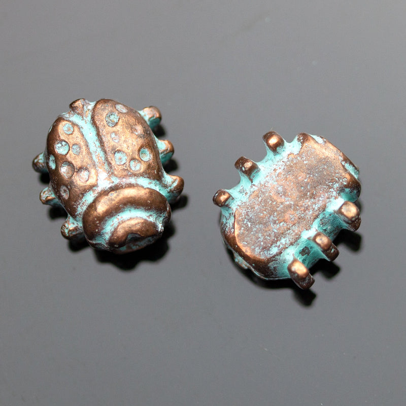 2 Cast Mykonos Ladybug Beads, 11 x 6 mm, Hole 3mm, Green Patina