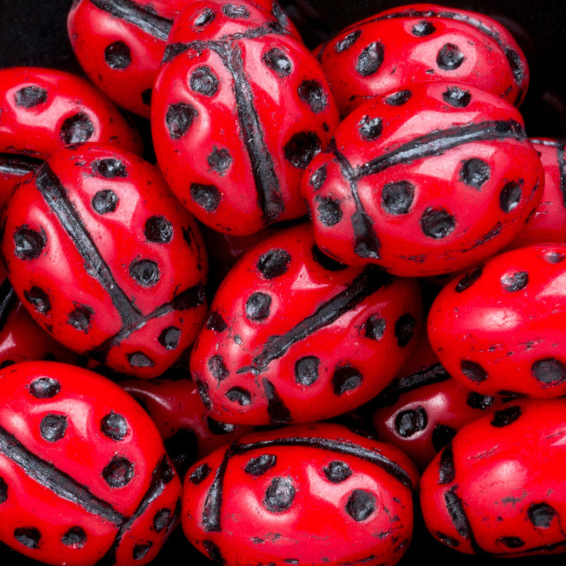 10 Red Czech Glass Ladybug Beads, 10 x 8 x 6mm