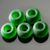 5 Large 4.25mm Hole Cultured Faux Sea Glass Round Beads, 12.5mm, Shamrock