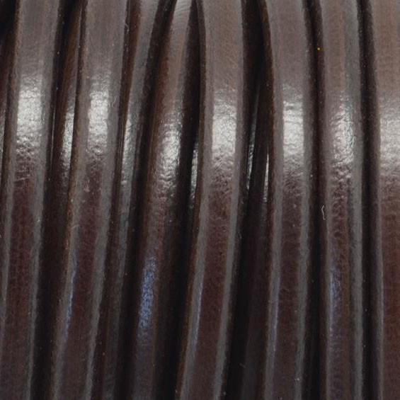 LEATHER - 3 OR 10% Off 10 FEET 5mm Round Thick High Quality Leather, Dark Brown
