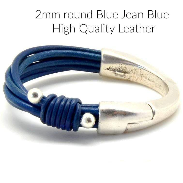LEATHER - 3 Or 15% Off 10 Feet, Round High Quality Leather, Blue Jean Blue, 2mm