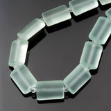 12 Sea glass light aqua coke bottle rectangle pillow beads, 14 x 10mm