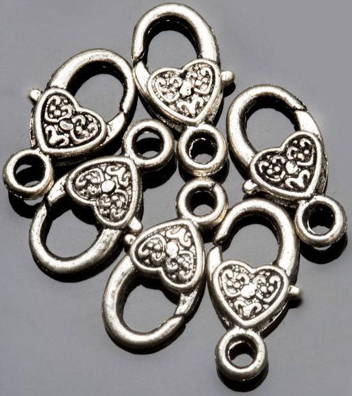 12 Antique silver heart lobster clasp, lead-free alloy clasps, 17 x 9mm, Hole 2.5mm