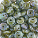 50 Opaque green luster Czech glass rondelle spacers, 6mm