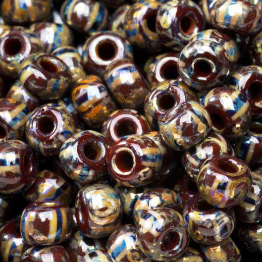 5/0 LOOSE Mahogany stripe Picasso luster 4.5mm Czech seed beads, 10 grams