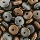 50 Matte metallic leather Czech glass rondelle spacers, 6mm
