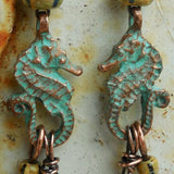 Mykonos - 2 Cast Seahorse Charms, Green Patina, 25 X 15mm