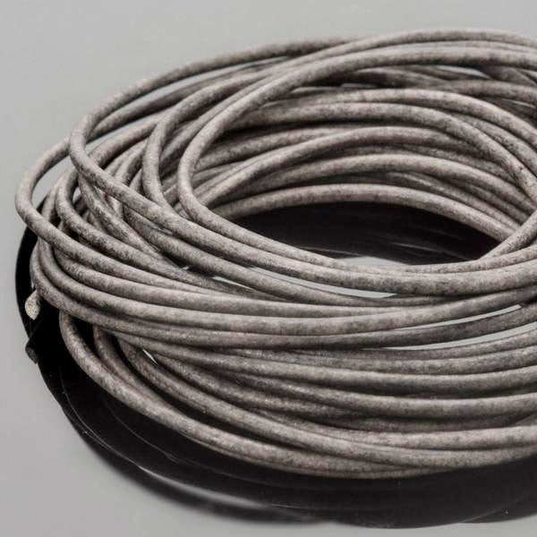 0.5 Round leather cord in Natural grey, 10 Feet