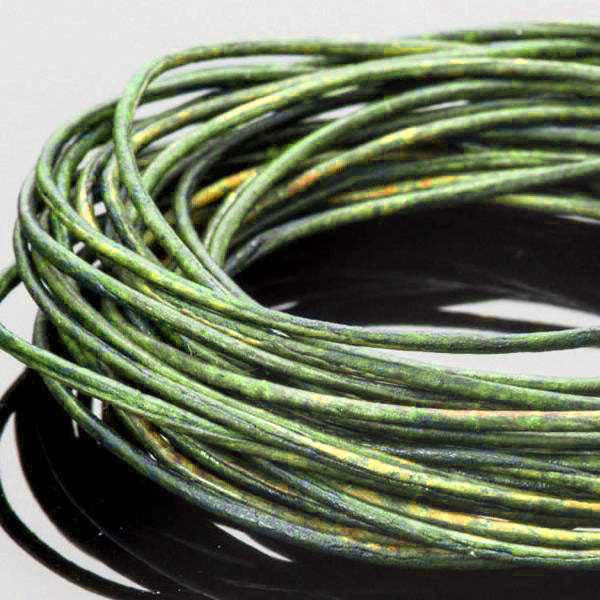 10 Feet 0.5mm Premium round leather cord, Natural Dark Green