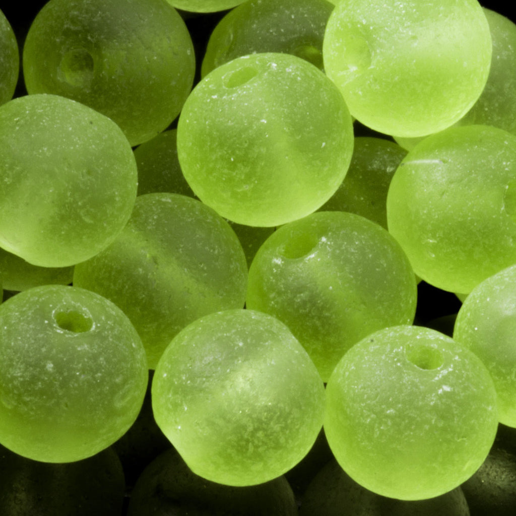 One Strand of 48, Cultured Faux Sea Glass Round Beads, Olive, 4mm