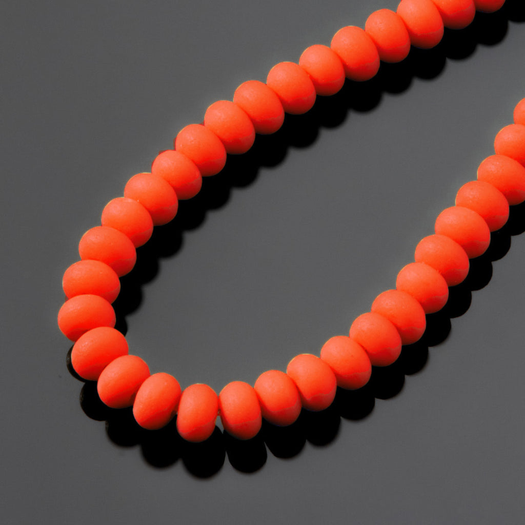 One Strand of 65, Cultured Faux Sea Glass Rondelle Beads, Opaque Orange, 4 x 3mm