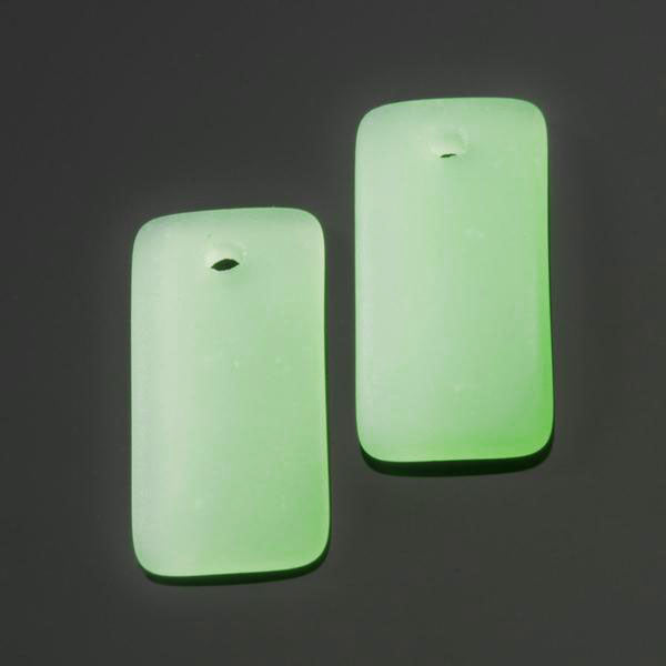 2 Cultured Faux Sea Glass Bottle-Curved Earring Rectangle Pendants, 22 x 11mm, Opaque Seafoam