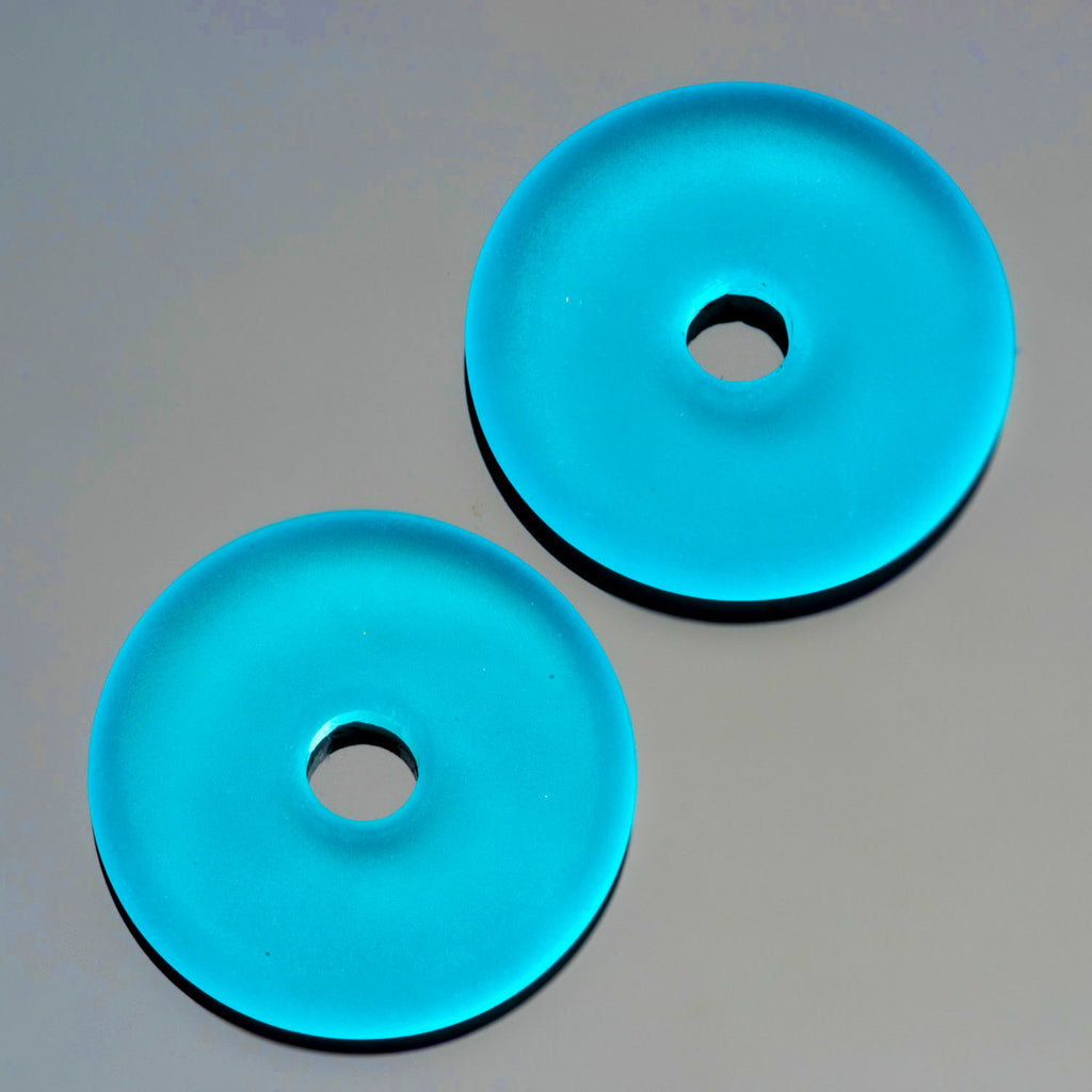 2 Cultured Faux Sea Glass Pacific Blue Donut Pendants, 25mm, 4mm hole