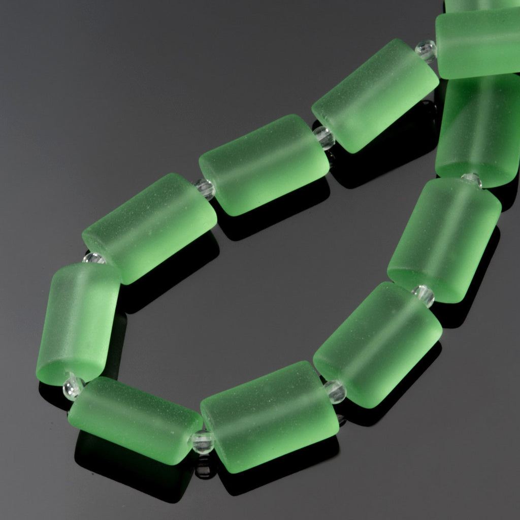 CLEARANCE 12 Sea glass Peridot green rectangle pillow beads, 14 x 10mm