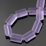 12 Sea glass periwinkle purple rectangle pillow beads, 14 x 10mm
