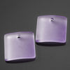 2 Cultured concave faux sea glass square pendants, 19 x 16mm, Periwinkle Changes