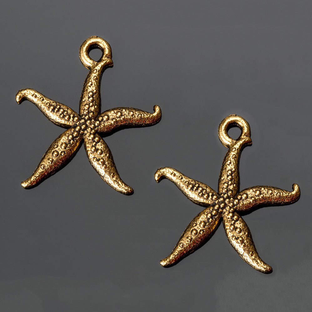 2 Antique gold pewter starfish charms, 18 x 20mm