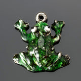 CLEARANCE Hand-enameled antique pewter frog charm , 17 x 17mm