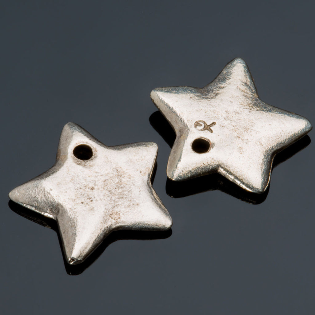 2 Large pewter finish star charms, 15mm