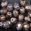 25  Purple Pansy with Bronze Picasso Luster Firepolished Round Beads, 6mm