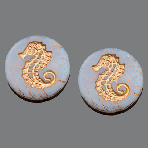 CLEARANCE 2 Purple translucent old patina wash Seahorse coin beads, 23mm