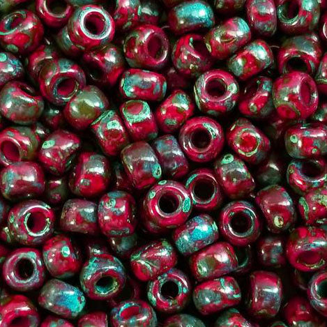 20 Grams, 6/0 Loose Opaque Garnet Red Picasso seed beads