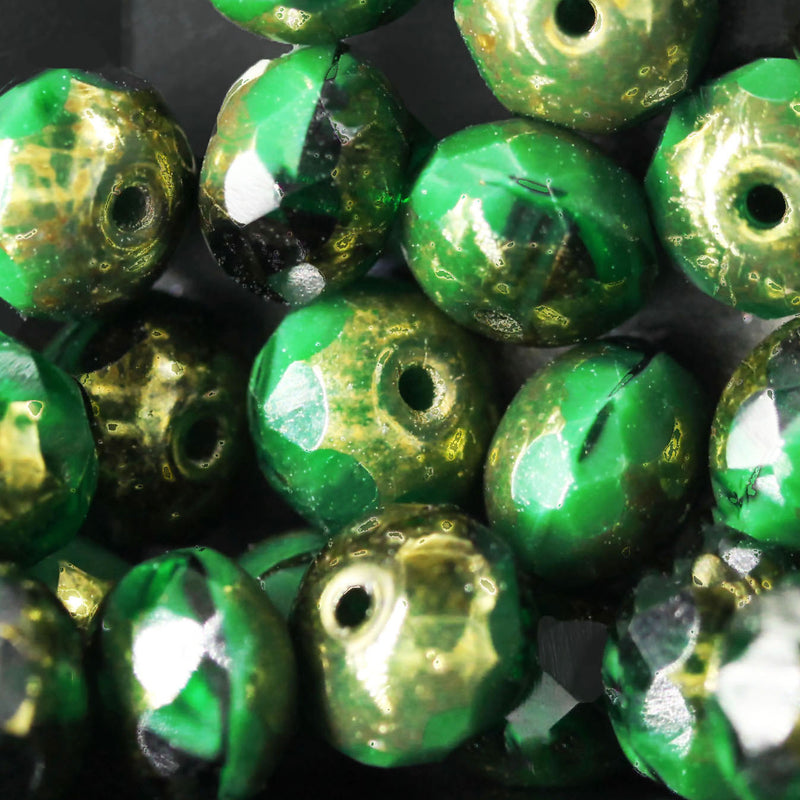 15 Hunter Green with Metallic Gold Finish Firepolished Czech rondelles, 5 x 7mm