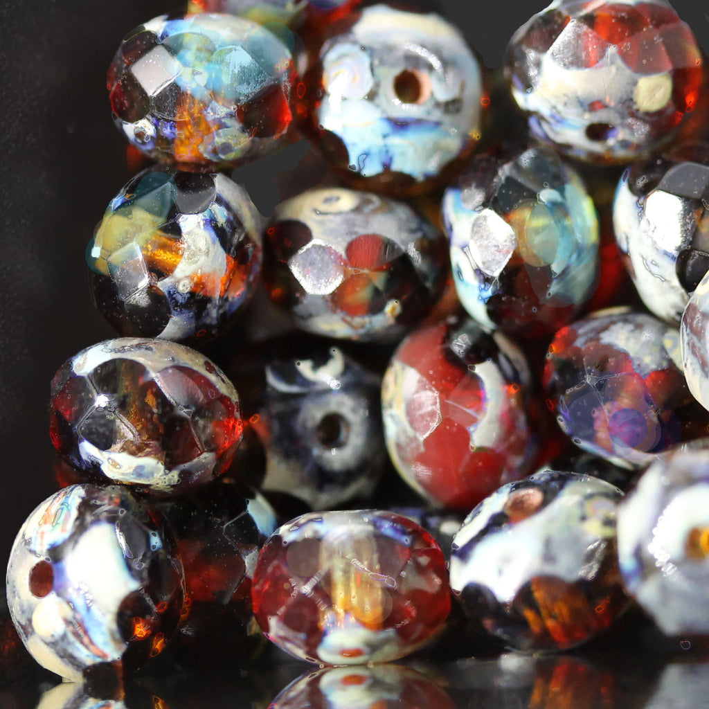 25 Transparent Multicolor Picasso Firepolished Czech rondelles, 5 x 7mm