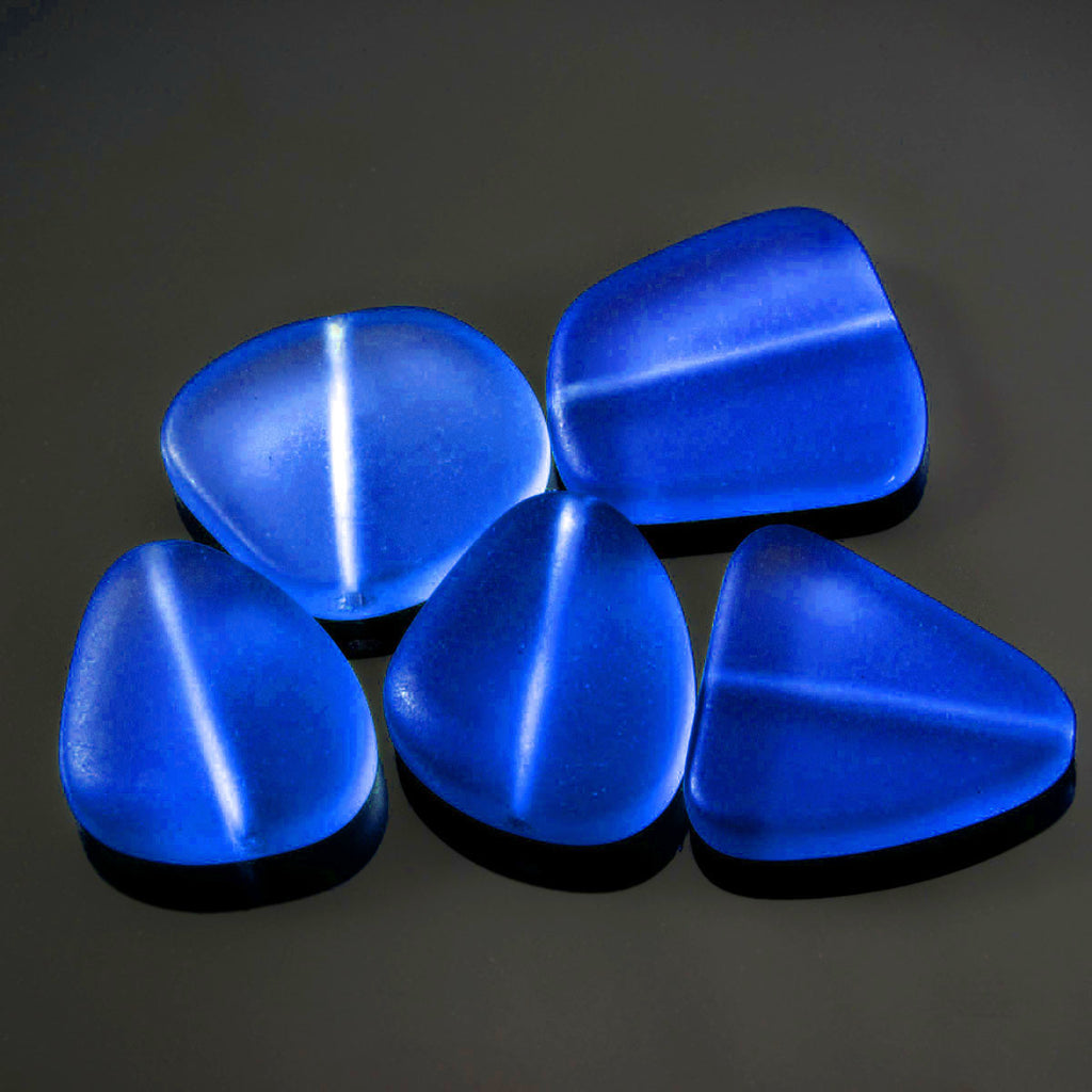 5 Cultured sea glass freeform beads, 23 x 20mm, Royal blue